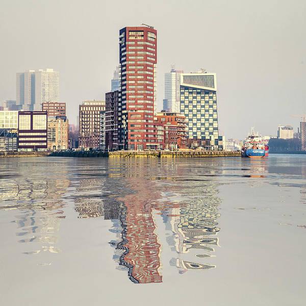 Digital Art - Water Reflection Lloydpier Rotterdam by Frans Blok