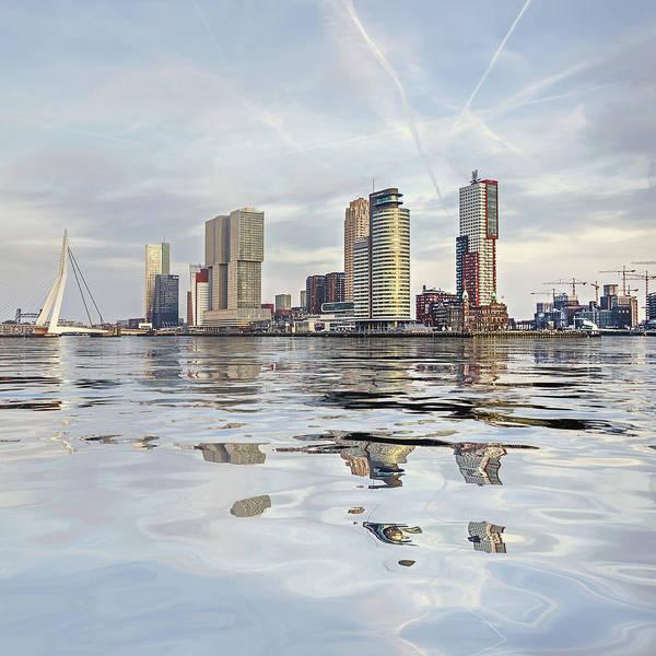 Digital Art - Water Reflection Nieuwe Maas River Rotterdam by Frans Blok