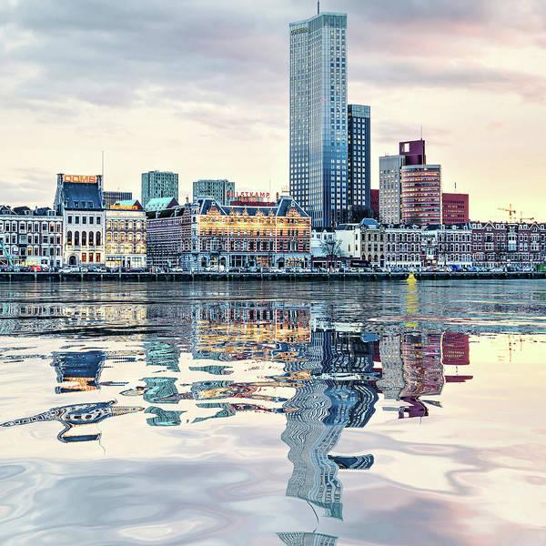 Digital Art - Water Reflection Noordeiland Rotterdam by Frans Blok