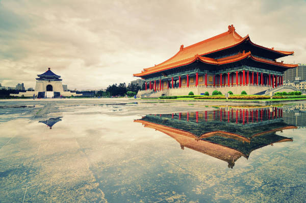 Concert Hall Photograph - Water Reflection Of C.k.s. Memorial Hall by Joyoyo Chen