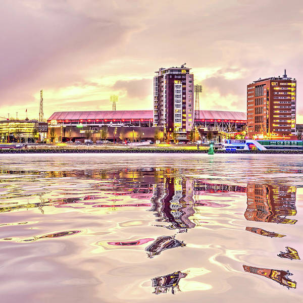 Digital Art - Water Reflection Stadium De Kuip by Frans Blok