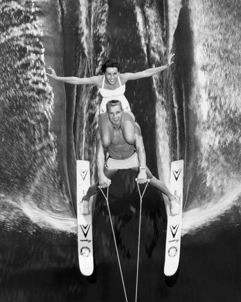 Waterskiing Photograph - Water Ski Demonstration In 1963 by Keystone-france
