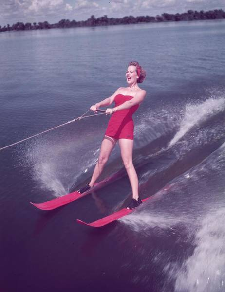 One Piece Swimsuit Photograph - Water Skiing by Keystone