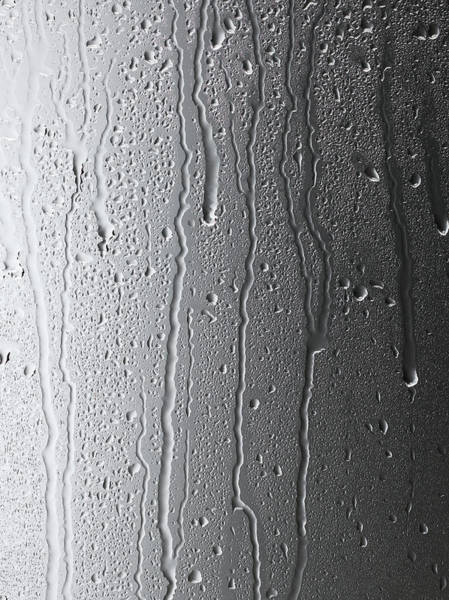 Drops Of Water Wall Art - Photograph - Water Streaming Down Glass On Gray by Chris Stein