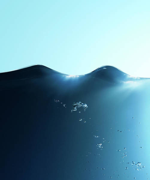 Blue Background Photograph - Water Surface, Water Wave And Bubbles by Biwa Studio