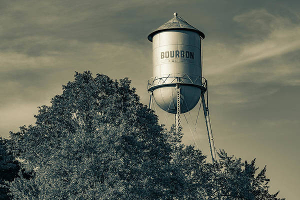 Wall Art - Photograph - Water Tower Bourbon Whiskey Sepia Landscape by Gregory Ballos