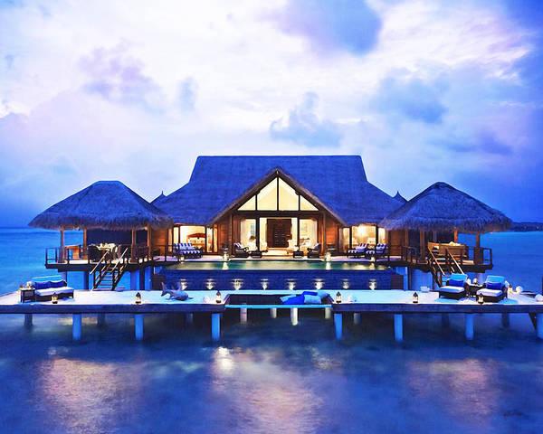 When Tomorrow Comes Wall Art - Painting - Water Villa/ Resort In Maldives by Rani S Manik