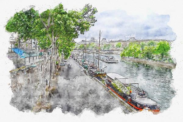 Wall Art - Digital Art - Water #watercolor #sketch #water #river by TintoDesigns