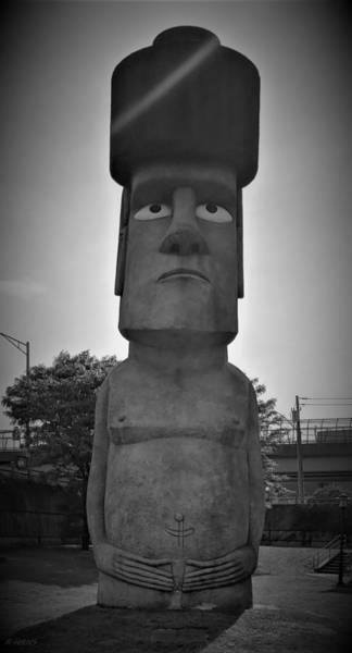 Photograph - Waterbury's Easter Island Statue by Rob Hans