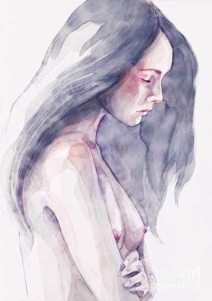 Painting - Watercolor Abstract Portrait Of A Girl by Dimitar Hristov