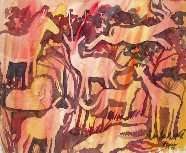 Painting - Watercolor - African Savanna Design by Cascade Colors