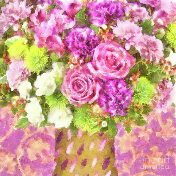 Wall Art - Painting - Watercolor Art Flowers Bouquet April Showers by Tina Lavoie