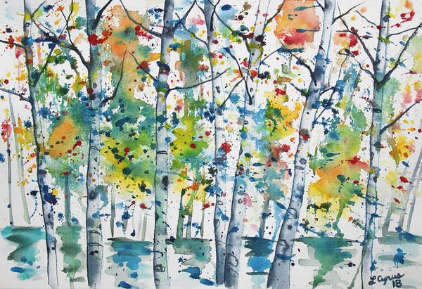 Painting - Watercolor - Aspen In The Rain by Lynn Cyrus
