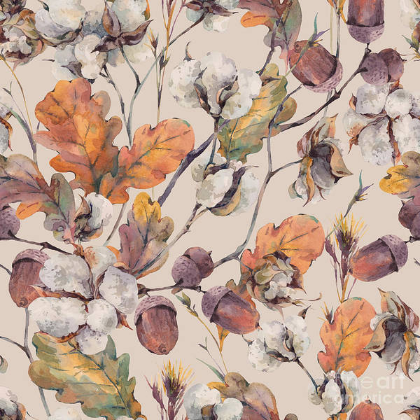 Wall Art - Digital Art - Watercolor Autumn Vintage Background by Depiano