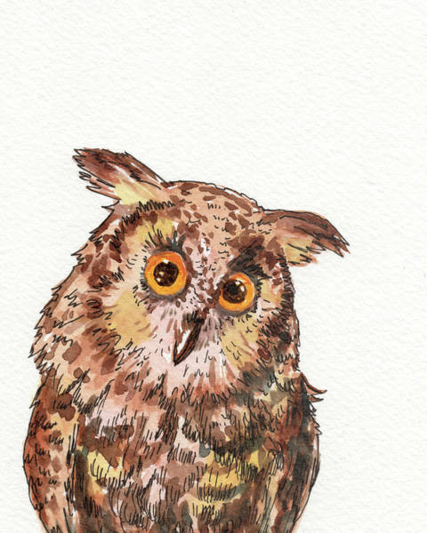 Wall Art - Painting - Watercolor Baby Owl  by Irina Sztukowski