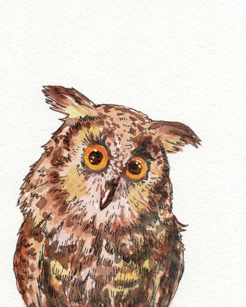 Painting - Watercolor Baby Owl  by Irina Sztukowski