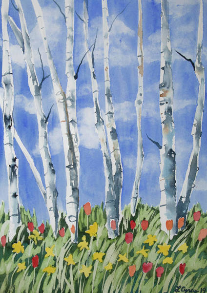 Painting - Watercolor - Birch With Tulip And Daffodil by Cascade Colors