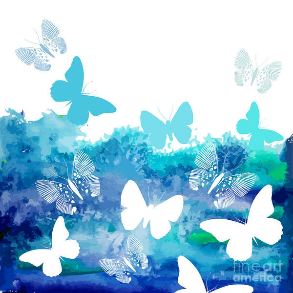 White Butterfly Digital Art - Watercolor Blue Background With by Ihnatovich Maryia