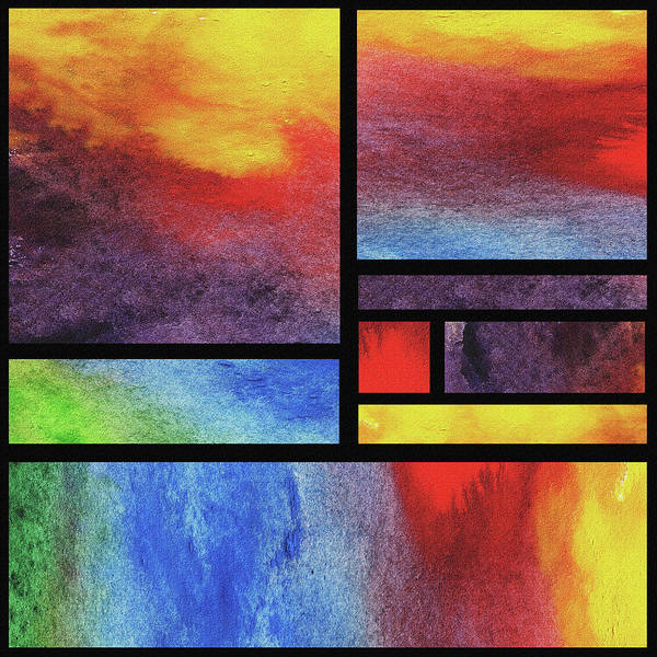 Painting - Watercolor Bright Vivid Geometry Blocks Abstract I by Irina Sztukowski