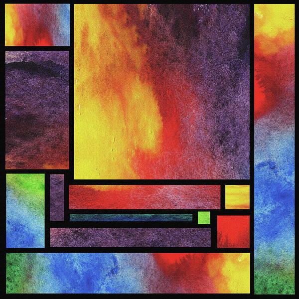 Painting - Watercolor Bright Vivid Geometry Blocks Abstract II by Irina Sztukowski