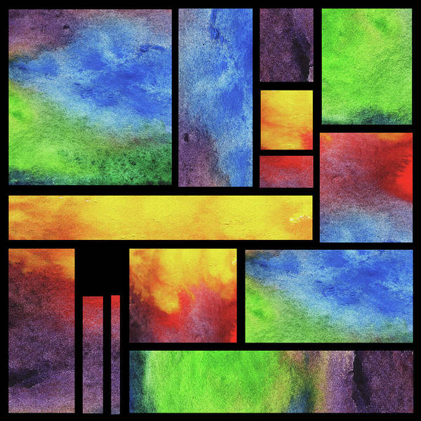 Wall Art - Painting - Watercolor Bright Vivid Geometry Blocks Abstract V by Irina Sztukowski