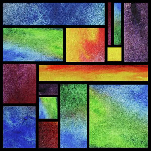 Wall Art - Painting - Watercolor Bright Vivid Geometry Blocks Abstract Vii by Irina Sztukowski