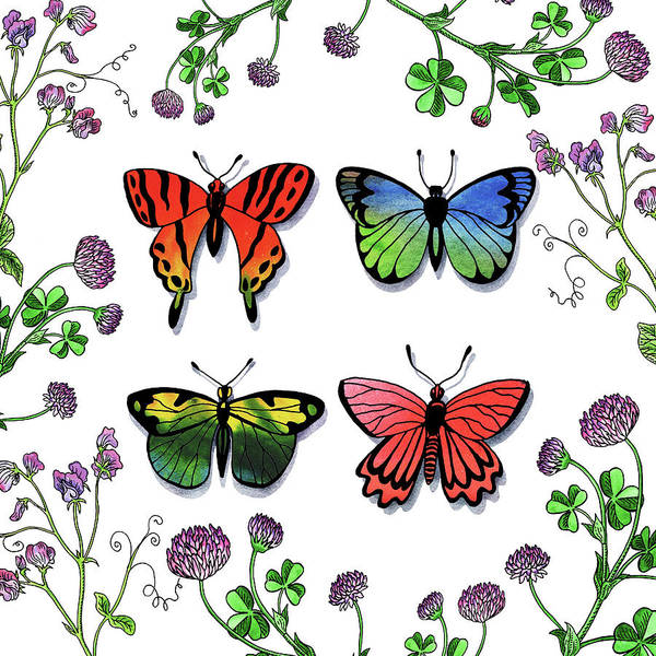 Wall Art - Painting - Watercolor Butterflies And Wildflowers Collection by Irina Sztukowski