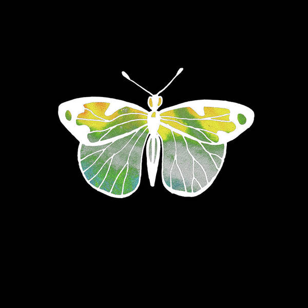 Painting - Watercolor Butterfly On Black IIi by Irina Sztukowski
