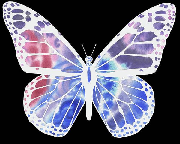Painting - Watercolor Butterfly On Black V by Irina Sztukowski