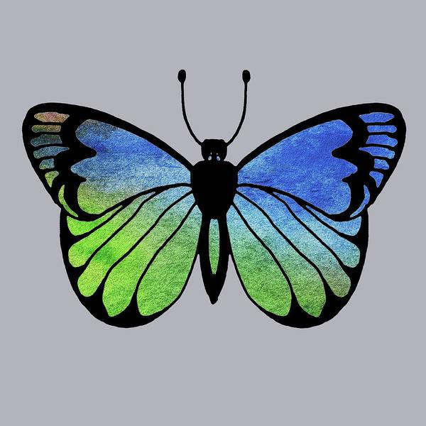 Wall Art - Painting - Watercolor Butterfly On Gray I by Irina Sztukowski