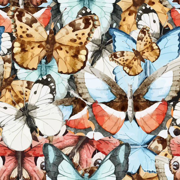 Wall Art - Digital Art - Watercolor, Butterfly, Pattern by Anastasia Lembrik