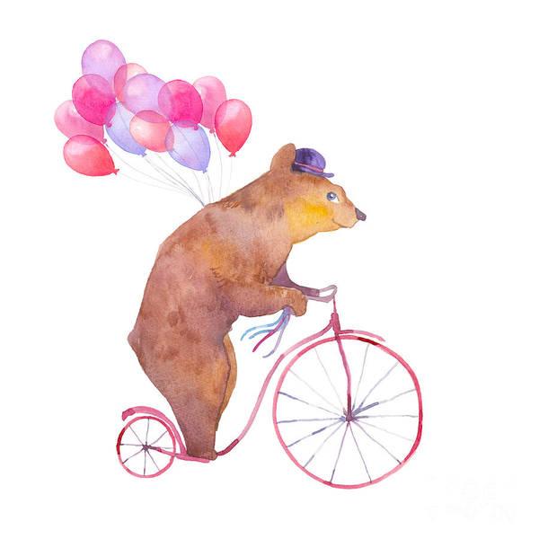 Wall Art - Digital Art - Watercolor Cartoon Bear On Retro by Eisfrei