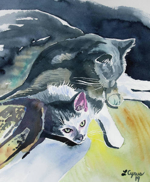Painting - Watercolor - Cat Companions by Cascade Colors