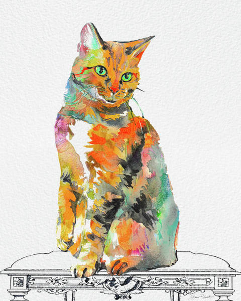 Wall Art - Painting - Watercolor Cat On Table A by Jean Plout