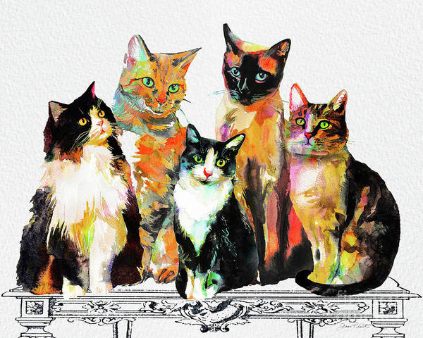 Wall Art - Painting - Watercolor Cat On Table G by Jean Plout