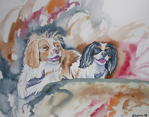 Painting - Watercolor - Cavalier King Charles Spaniels by Cascade Colors