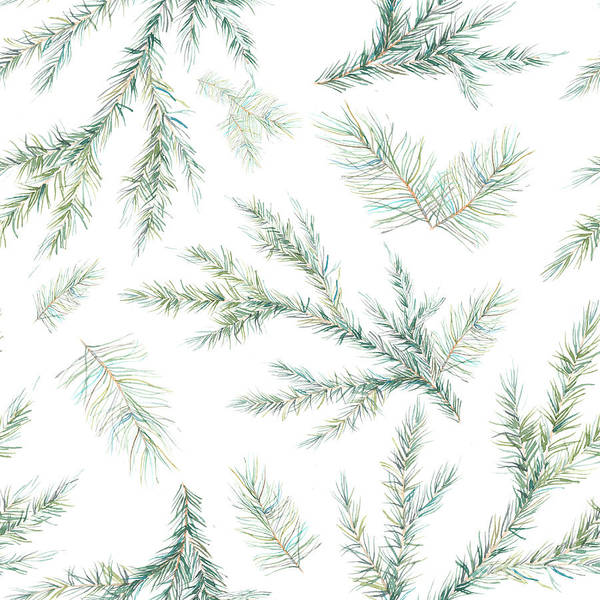 Wall Art - Digital Art - Watercolor Christmas Tree Branches by Eisfrei