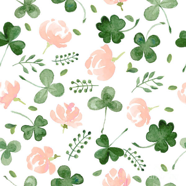 Wall Art - Digital Art - Watercolor Clover And Little Flowers by Antalogiya