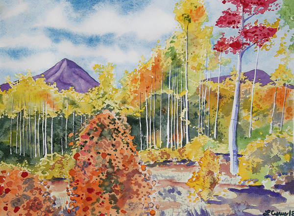 Painting - Watercolor - Colorado Aspen And Mountain Autumn Landscape by Cascade Colors