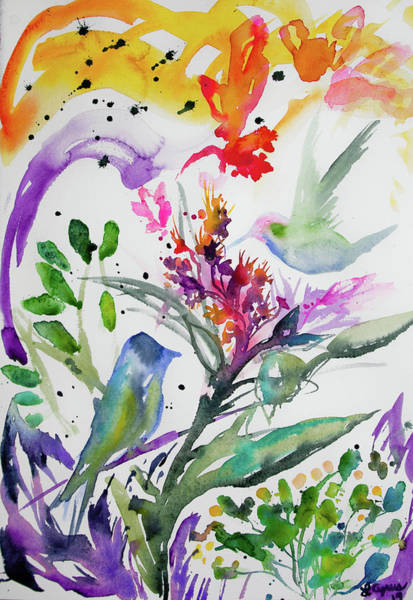 Painting - Watercolor -colorful Bird And Plant Abstract by Cascade Colors