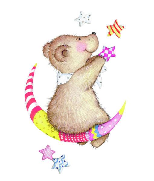 Digital Art - Watercolor Cute Teddy Bear On The Moon by Katrusya