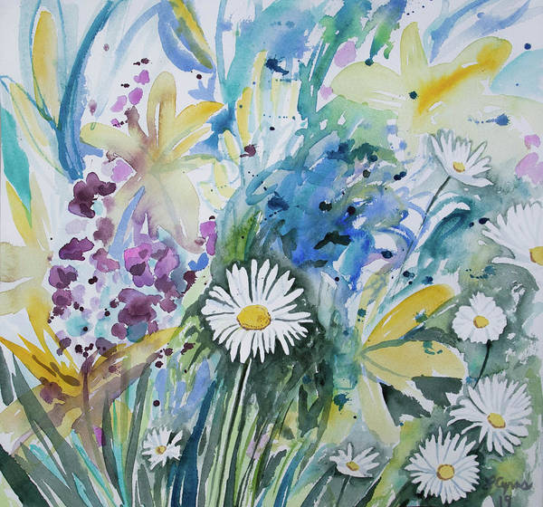 Painting - Watercolor - Daisy In The Garden by Cascade Colors