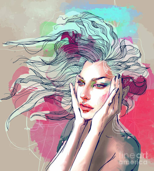 Wall Art - Digital Art - Watercolor Fashion Illustration With A by Alisa Franz