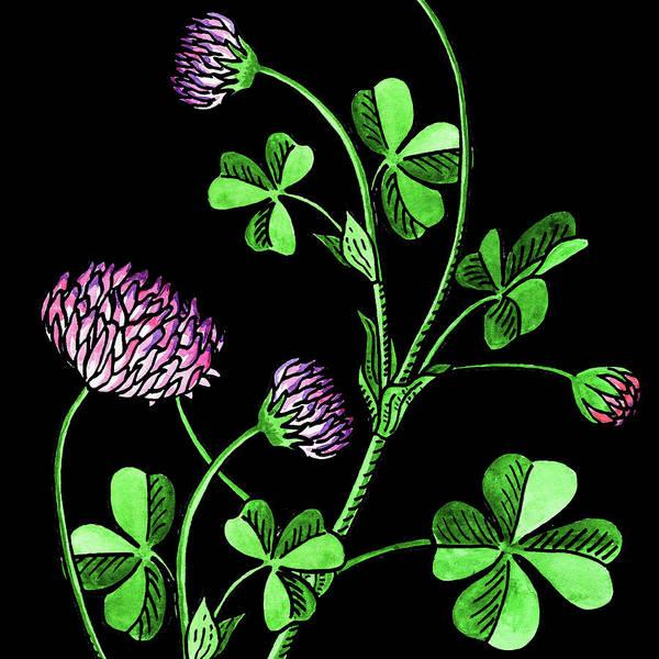 Lucky Clover Painting - Watercolor Flower Lucky Clover  by Irina Sztukowski