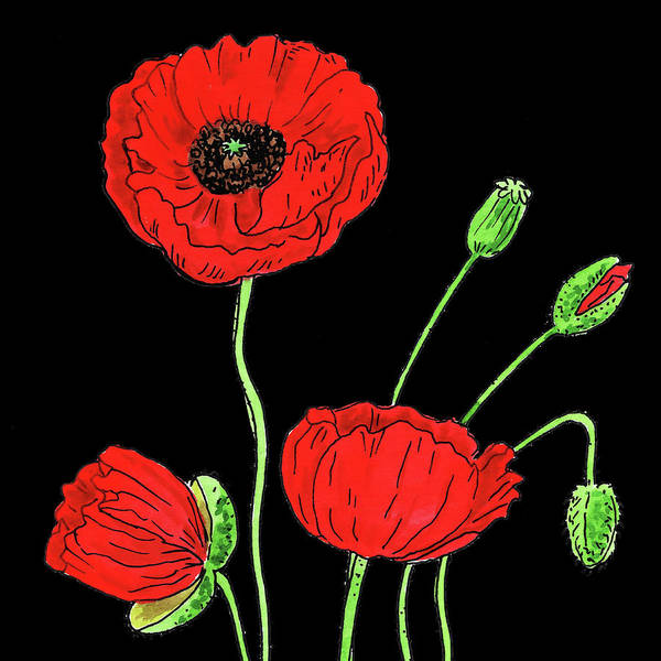 Wall Art - Painting - Watercolor Flower Red Poppy by Irina Sztukowski