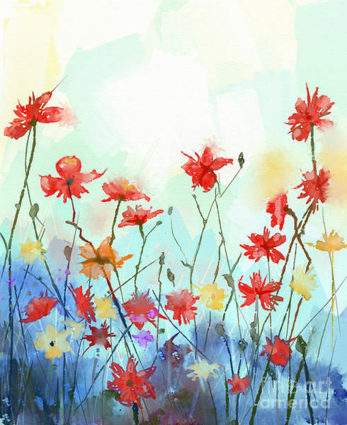 Celebration Digital Art - Watercolor Flowers Painting In Soft by Pluie r