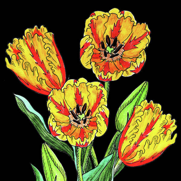 Botanic Painting - Watercolor Flowers Yellow Parrot Tulip by Irina Sztukowski