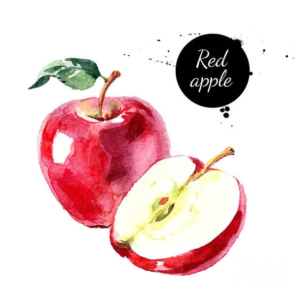 Wall Art - Digital Art - Watercolor Hand Drawn Red Apple by Pimlena