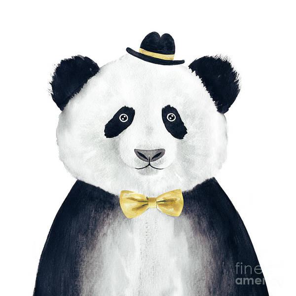 Isolated Wall Art - Digital Art - Watercolor Hipster Panda Drawing by Lenaer