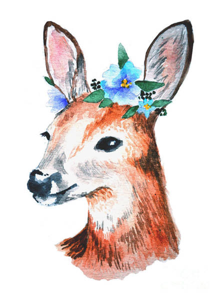 Reindeer Wall Art - Digital Art - Watercolor Illustration. Cute Young by Maria Sem